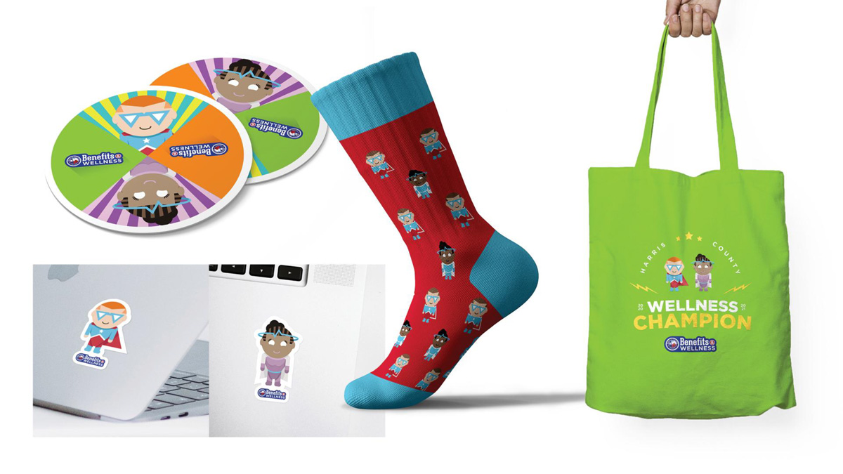 Event giveaways, including branded socks, a tote, coasters, and computer stickers.