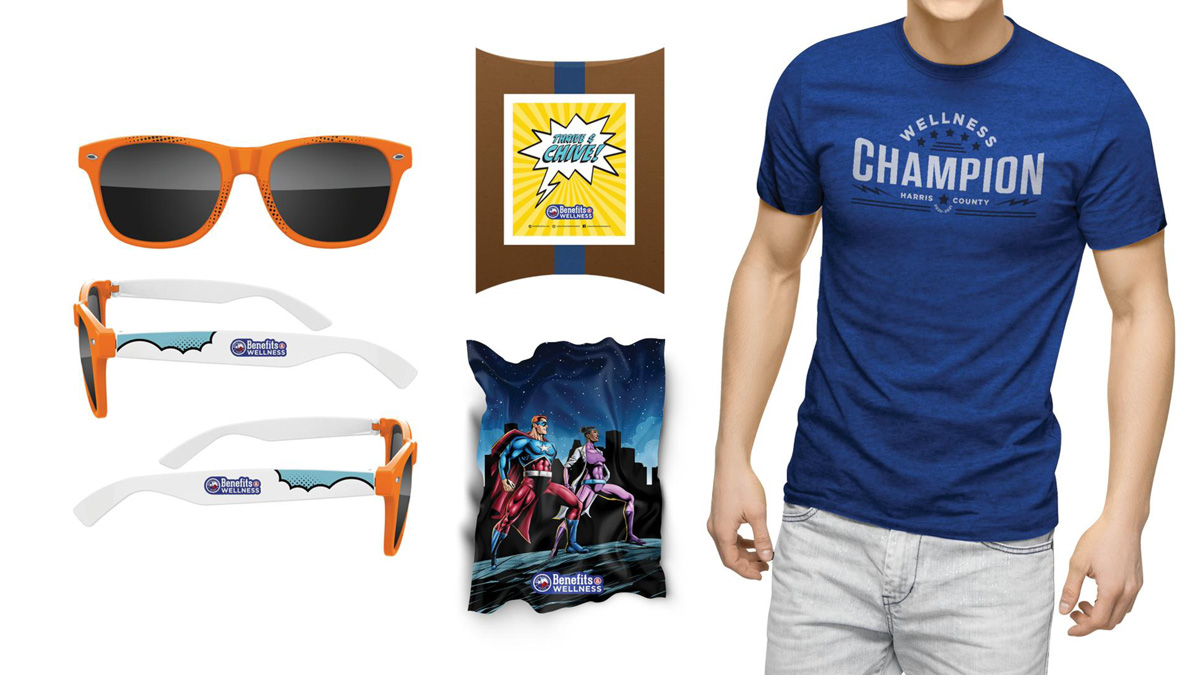 Giveaway items including sunglasses and t-shirts.