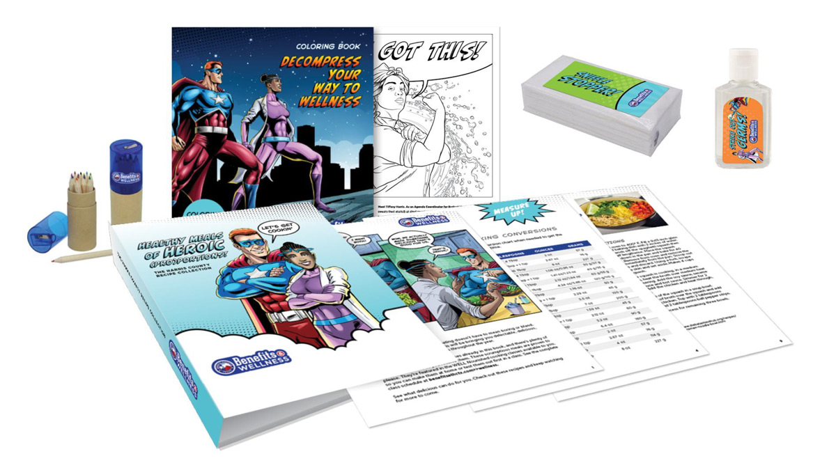 Custom coloring book, cookbook, tissue packages, and hand sanitizer bottles.