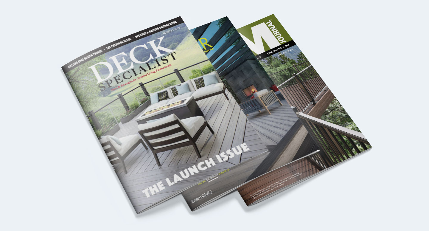 Three decking-related magazines stacked on top of each other.