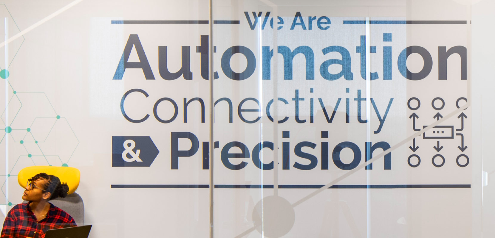 wall graphic that says We Are Automation, Connectivity and Precision
