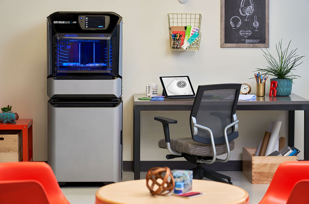 workspace with a 3D printer