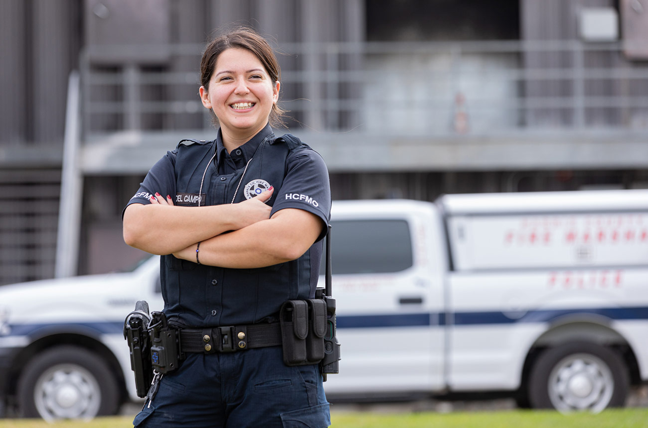 police woman smiling