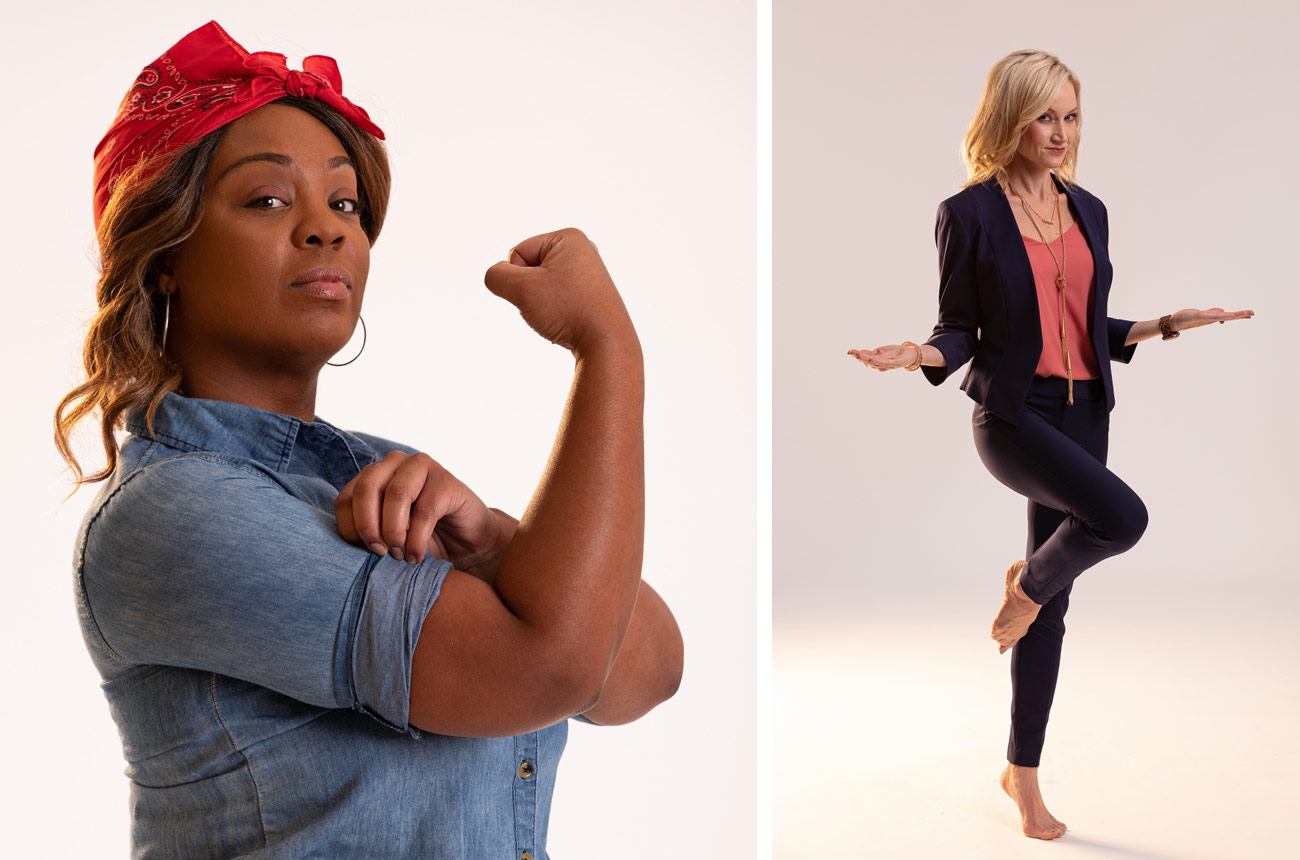 woman posing as rosie the riveter and woman standing on one foot