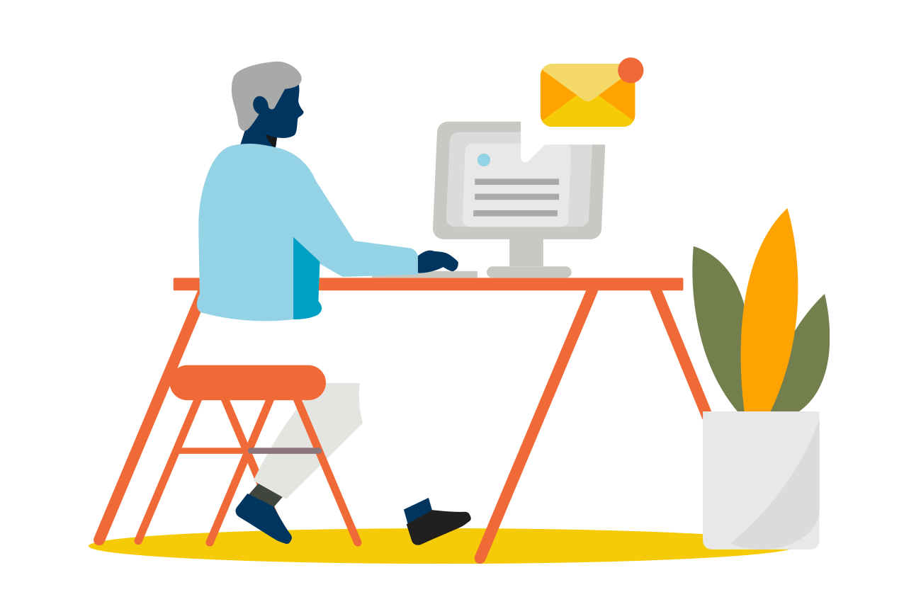 illustration of a person sitting at a desk