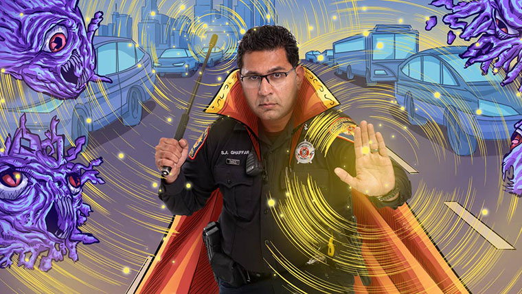 Police officer with a superhero cape standing in an illustrated city street with monster-type virus surrounding.