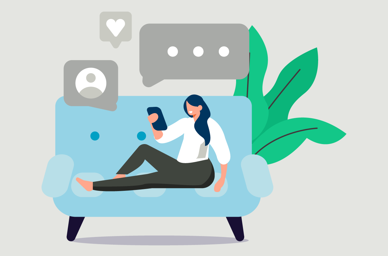 illustration of woman sitting on couch