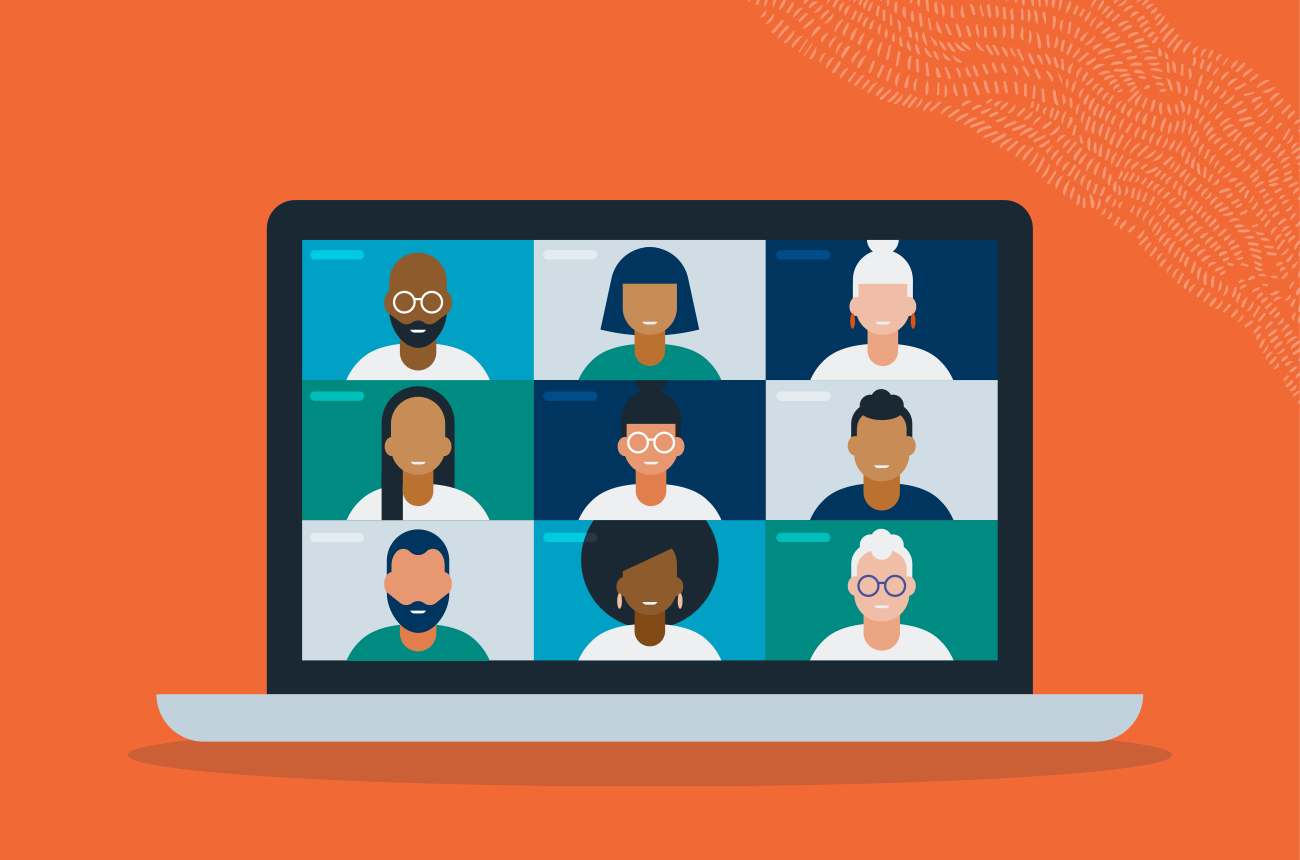 illustration of a laptop with multiple people video conferencing