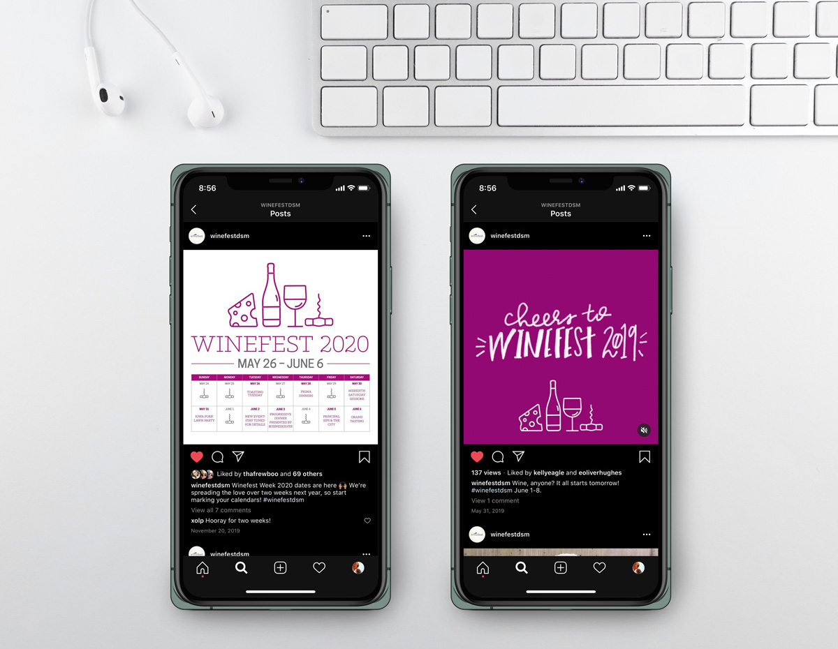 Two smartphone screens showing the new Winefest branding within Instagram posts.