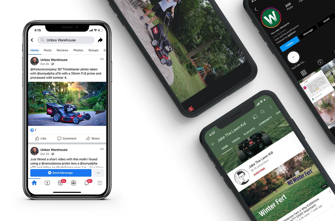 Multiple smartphones displaying social media posts.