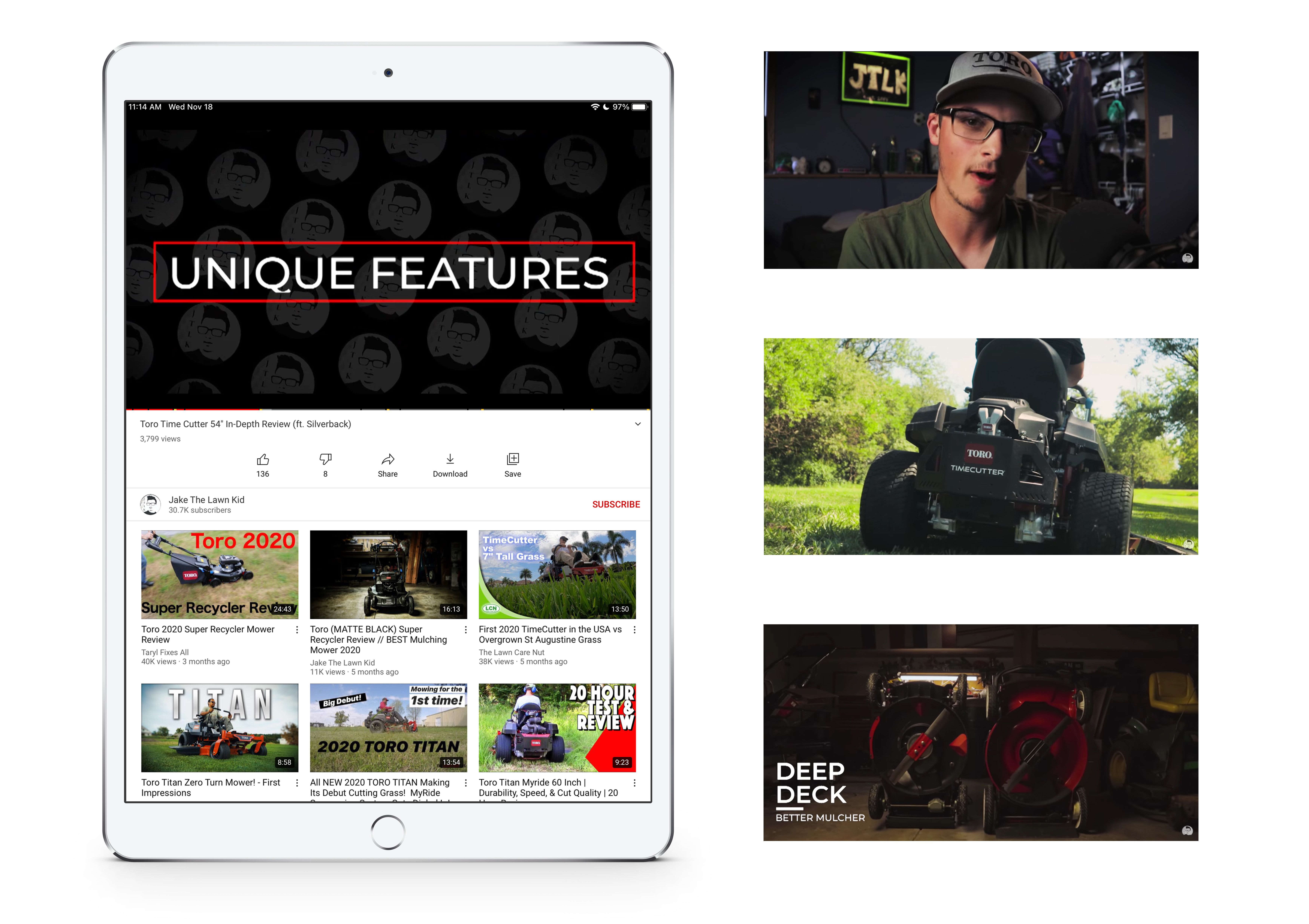 A tablet and screen captures showing examples of YouTube content.