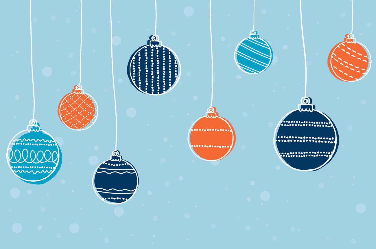 Illustration of blue and orange ornaments hanging in front on a blue background.
