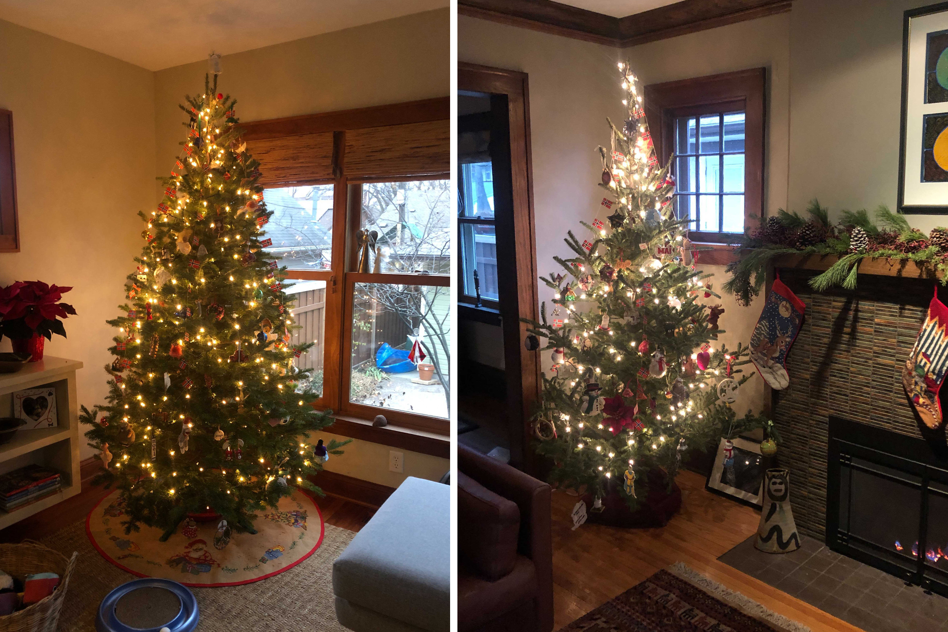 Two side-by-side photos of decorated Christmas trees sitting in living rooms.
