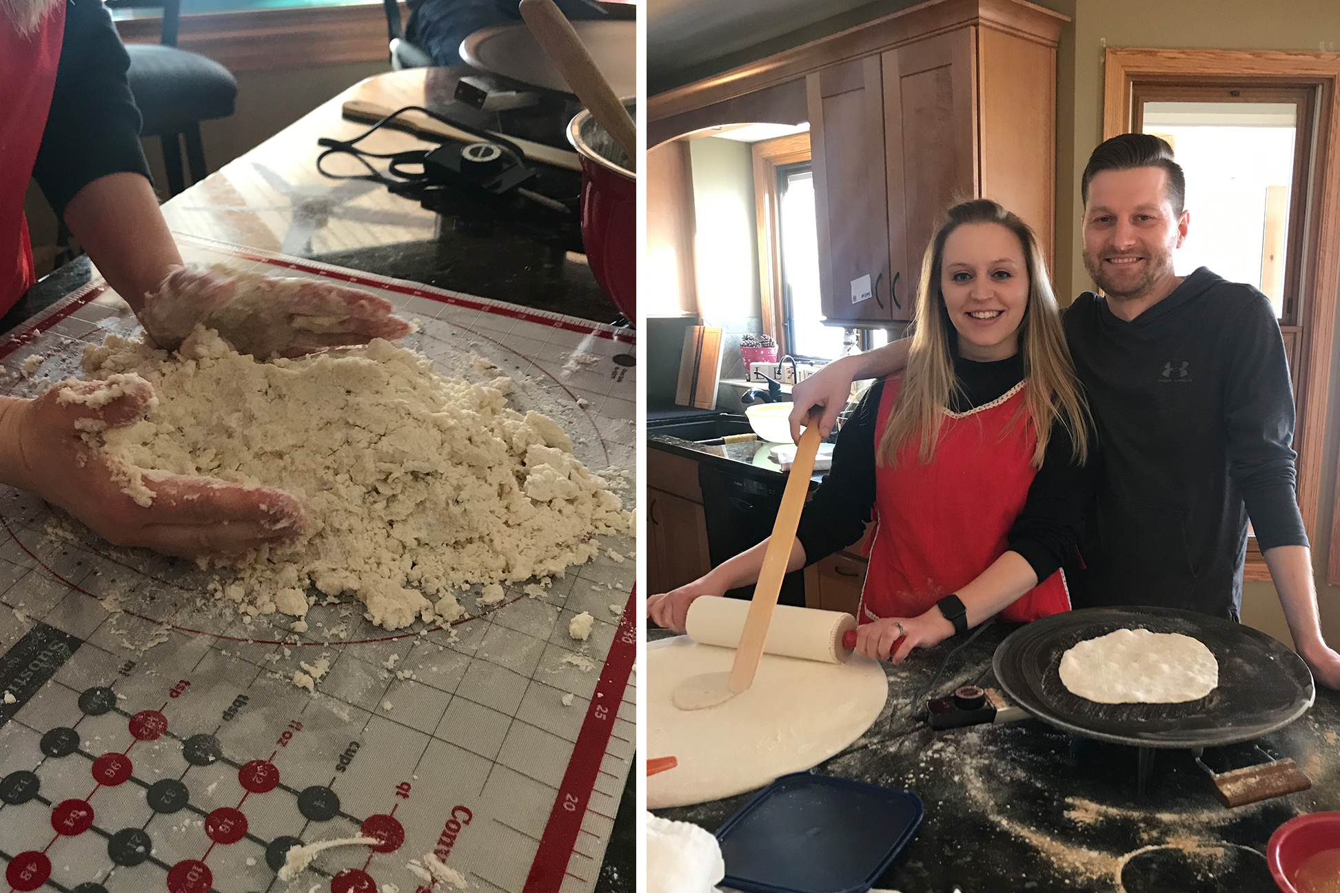 One photo of woman making lefsa. A second photo of a woman and man rolling out dough.