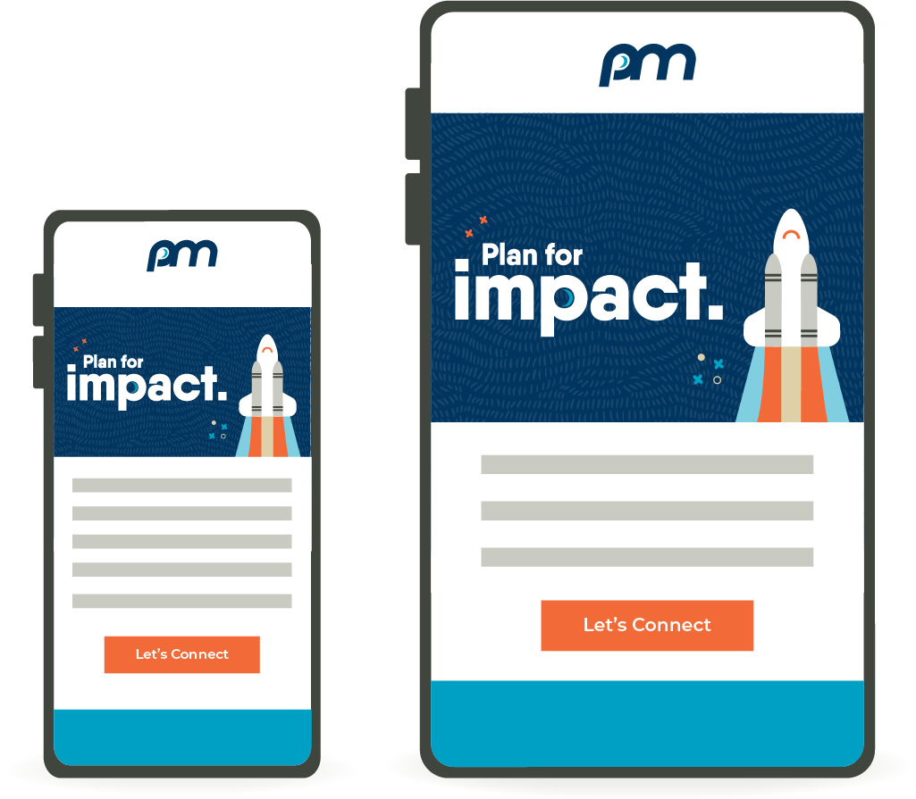 Illustration of a smartphone and tablet side-by-side, displaying the same email.