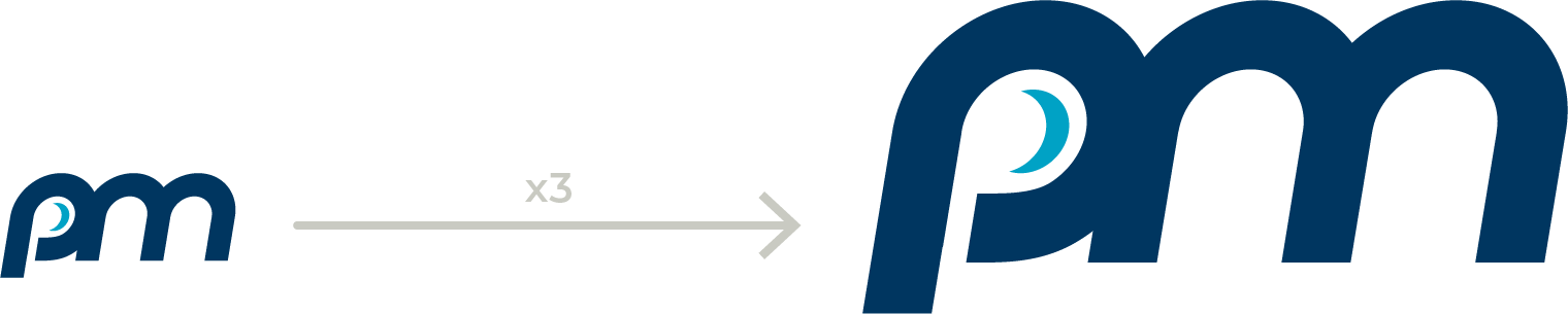 A small pm logo followed by an arrow pointing to a larger pm logo.