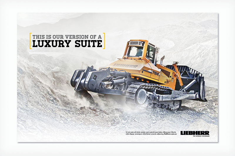 Liebherr advertisement showing large machinery digging into the ground.