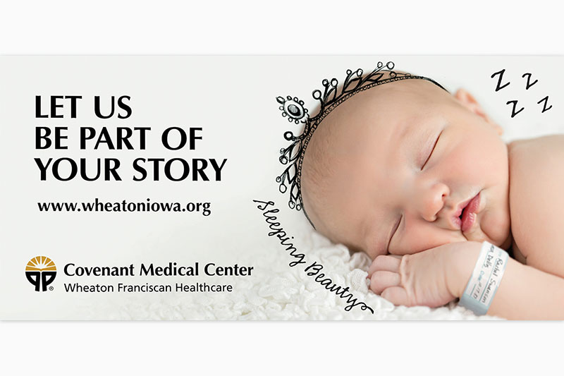Covenant Medical Center billboard advertisement with sleeping baby.