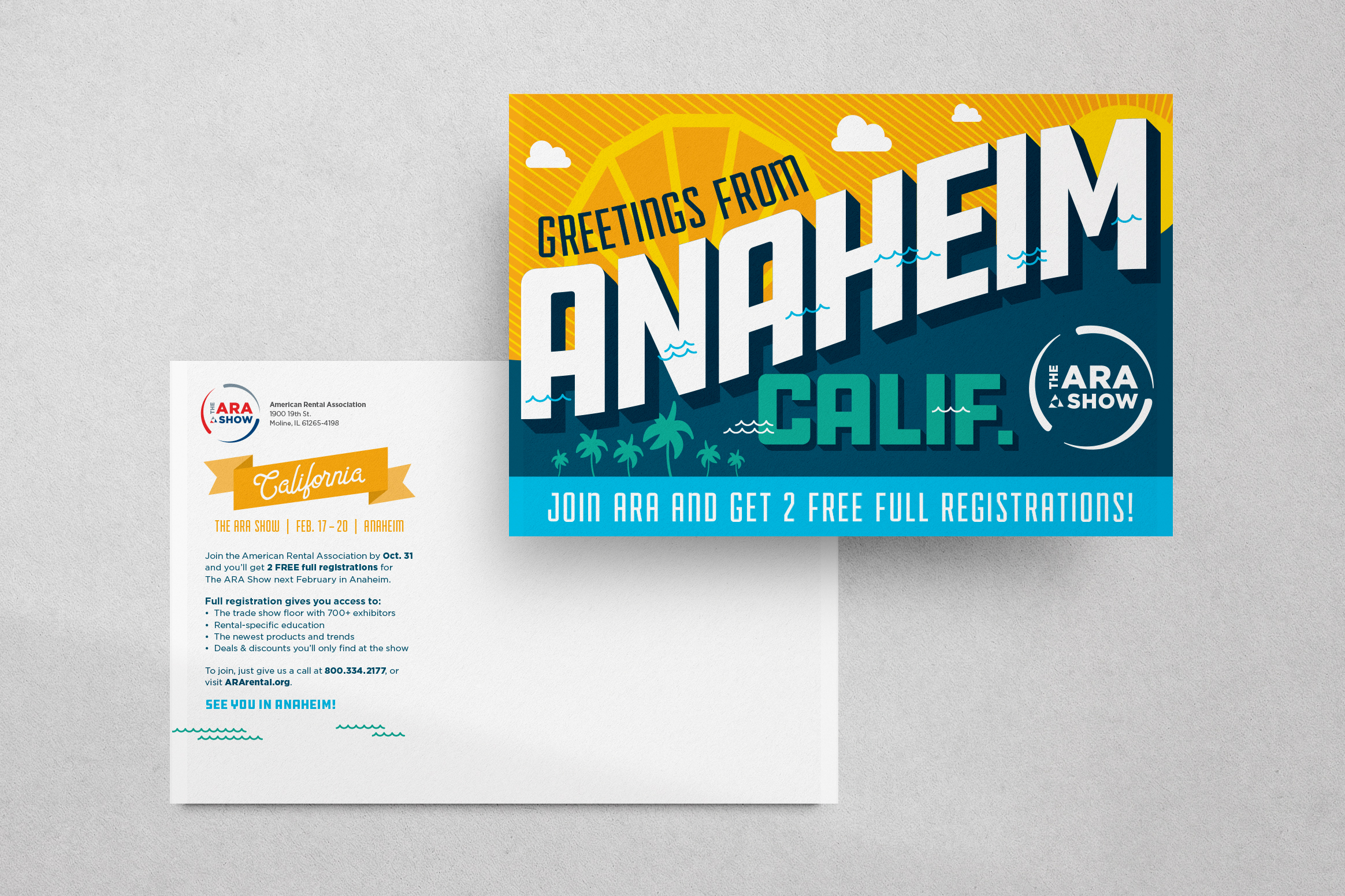Two ARA Show postcards front and back  laying overlapped on a grey background.