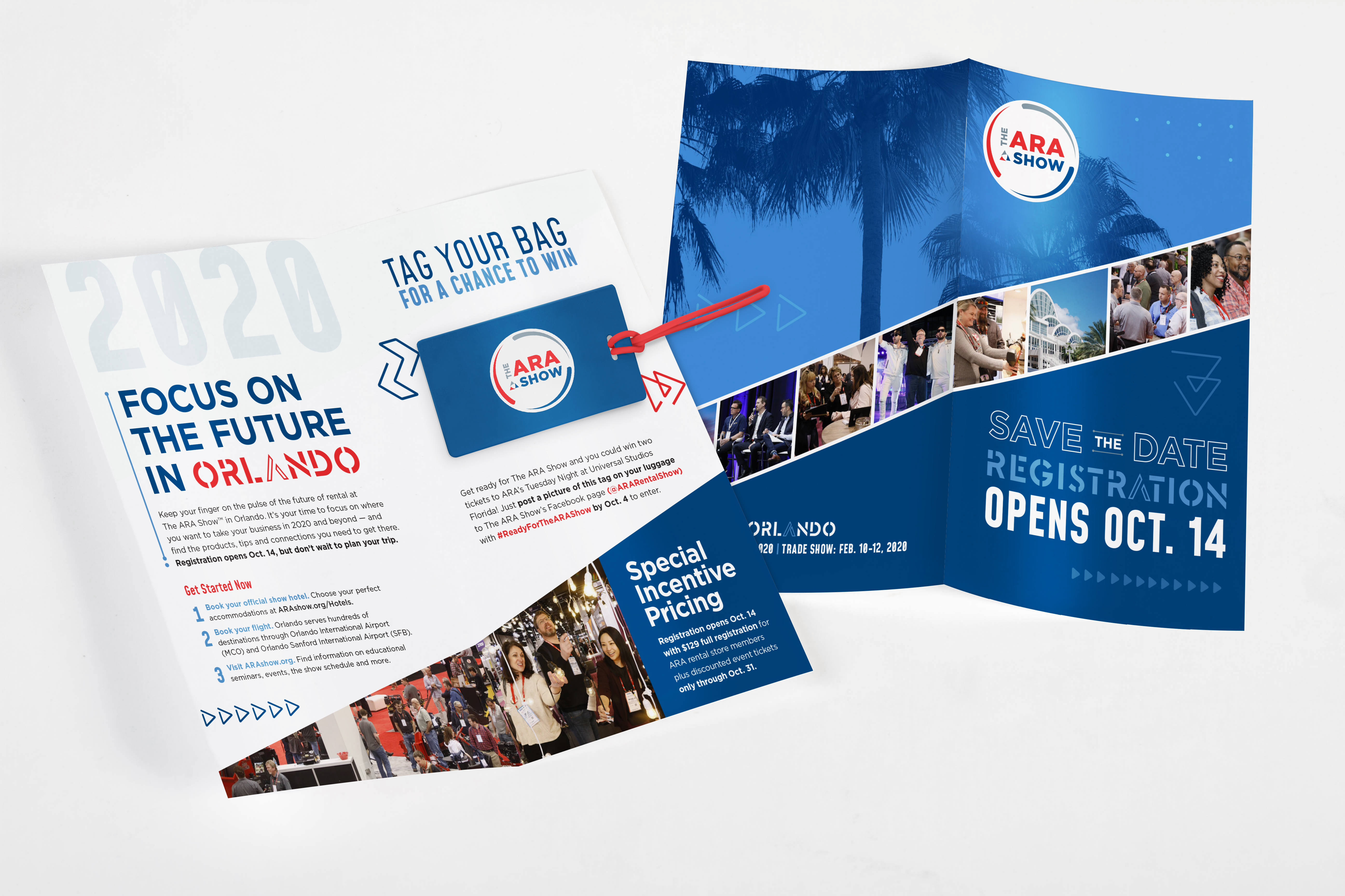 ARA Show 2020 direct mail front and back shown overlapped on a grey background.