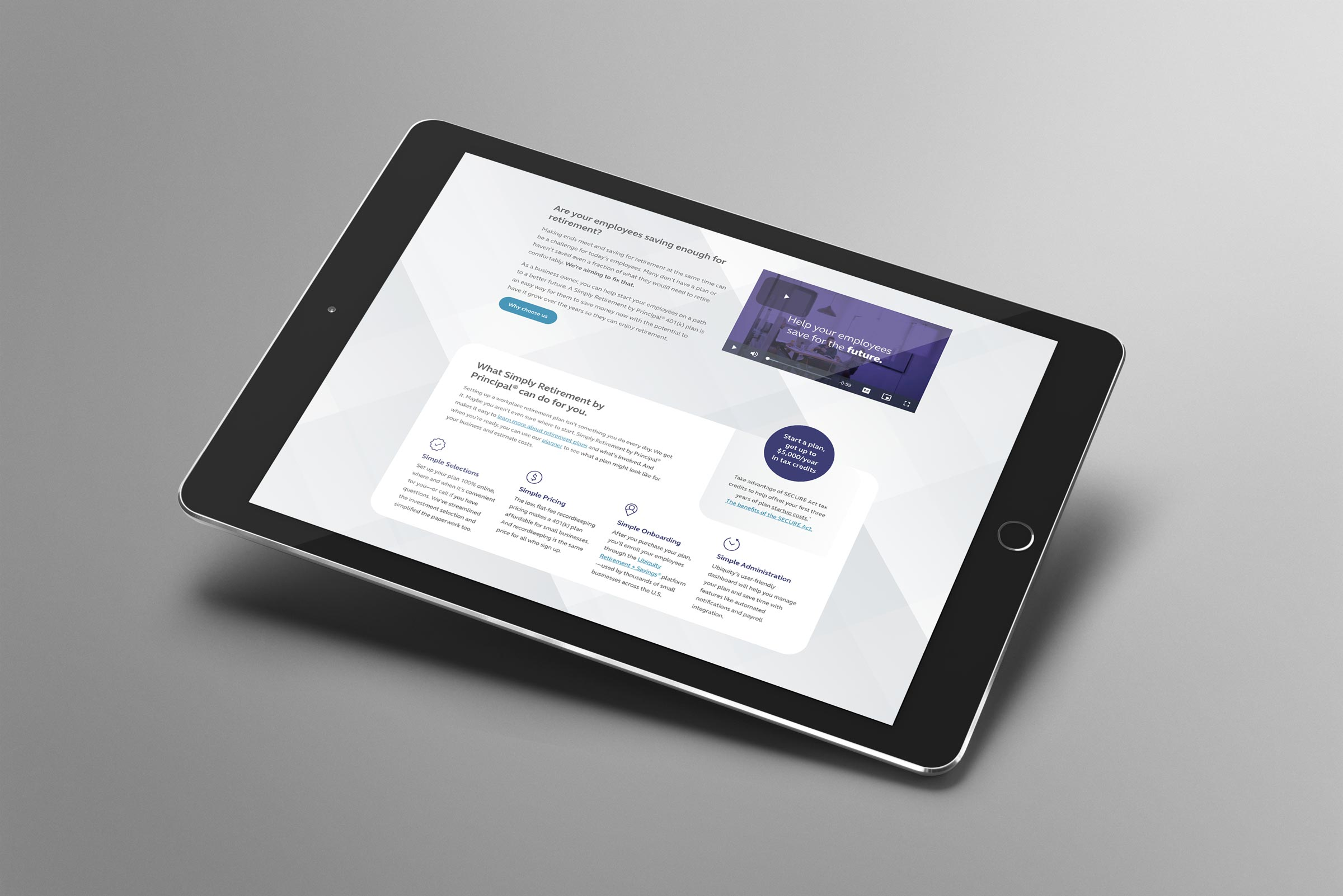 A tablet showing the Simply Retirement by Principal website design.