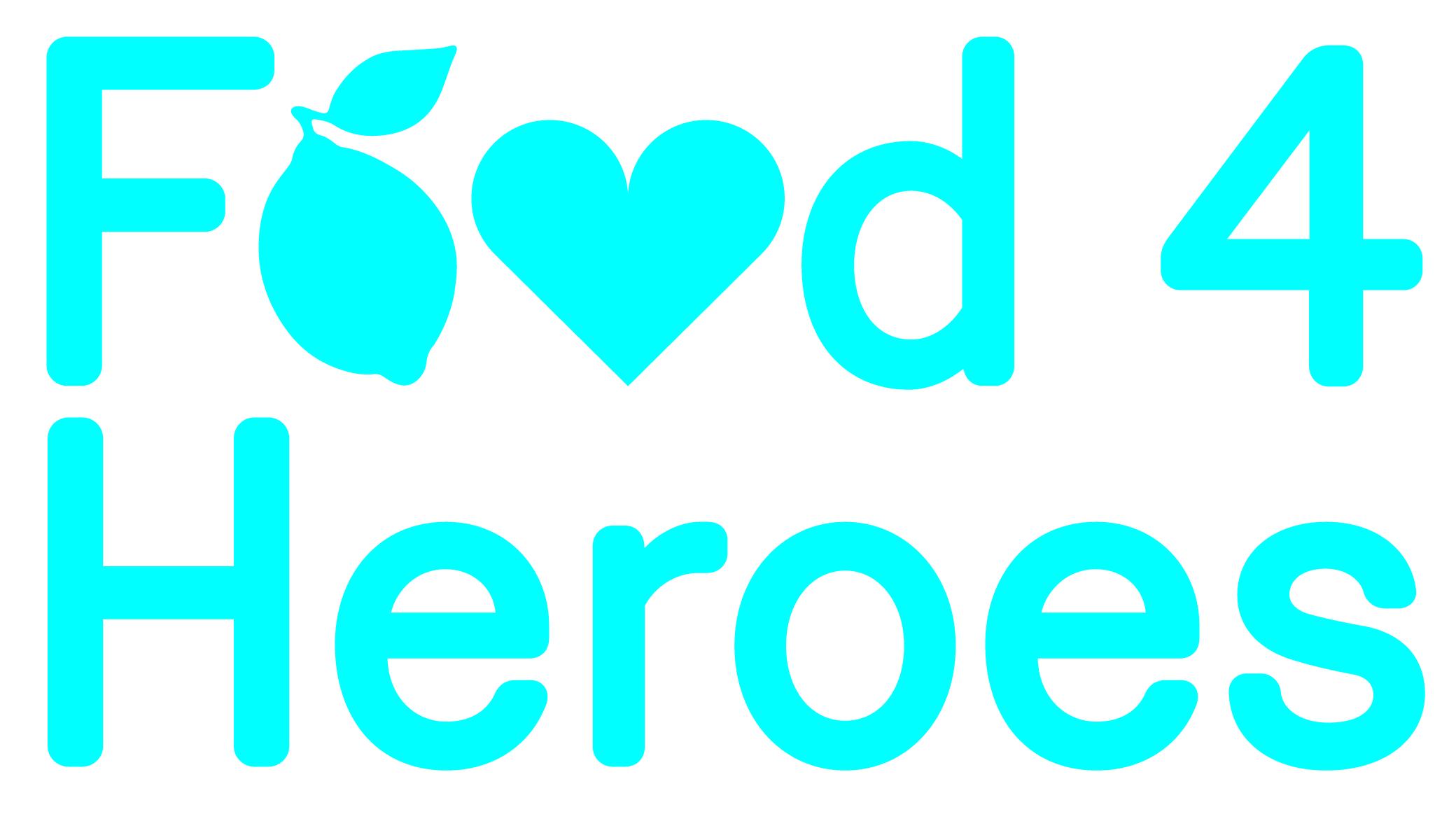 The Food 4 Heroes logo in blue