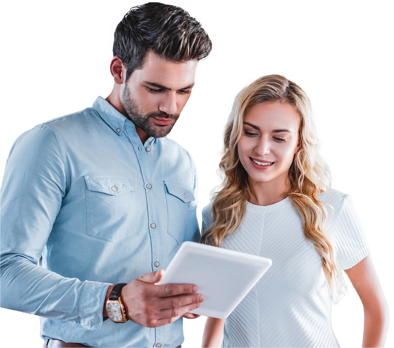 Professional man in blue collared shirt and woman in white professional top looking down at ipad screen