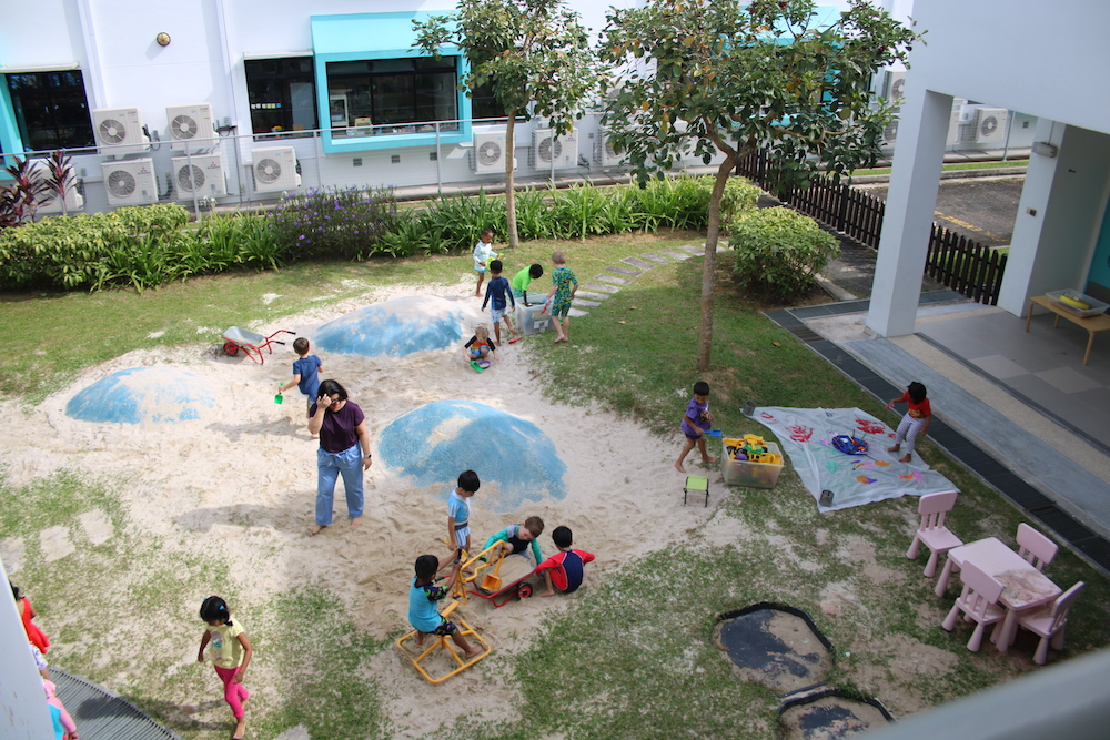 OWIS Early Childhood students enjoy the berms and sandpit play area