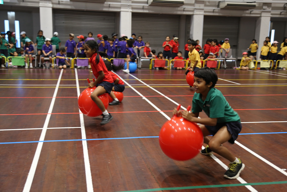 Some Sports Day events take place in the OWIS Multipurpose Hall