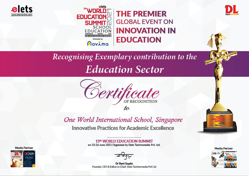 OWIS wins recognition at World Education Summit 2021
