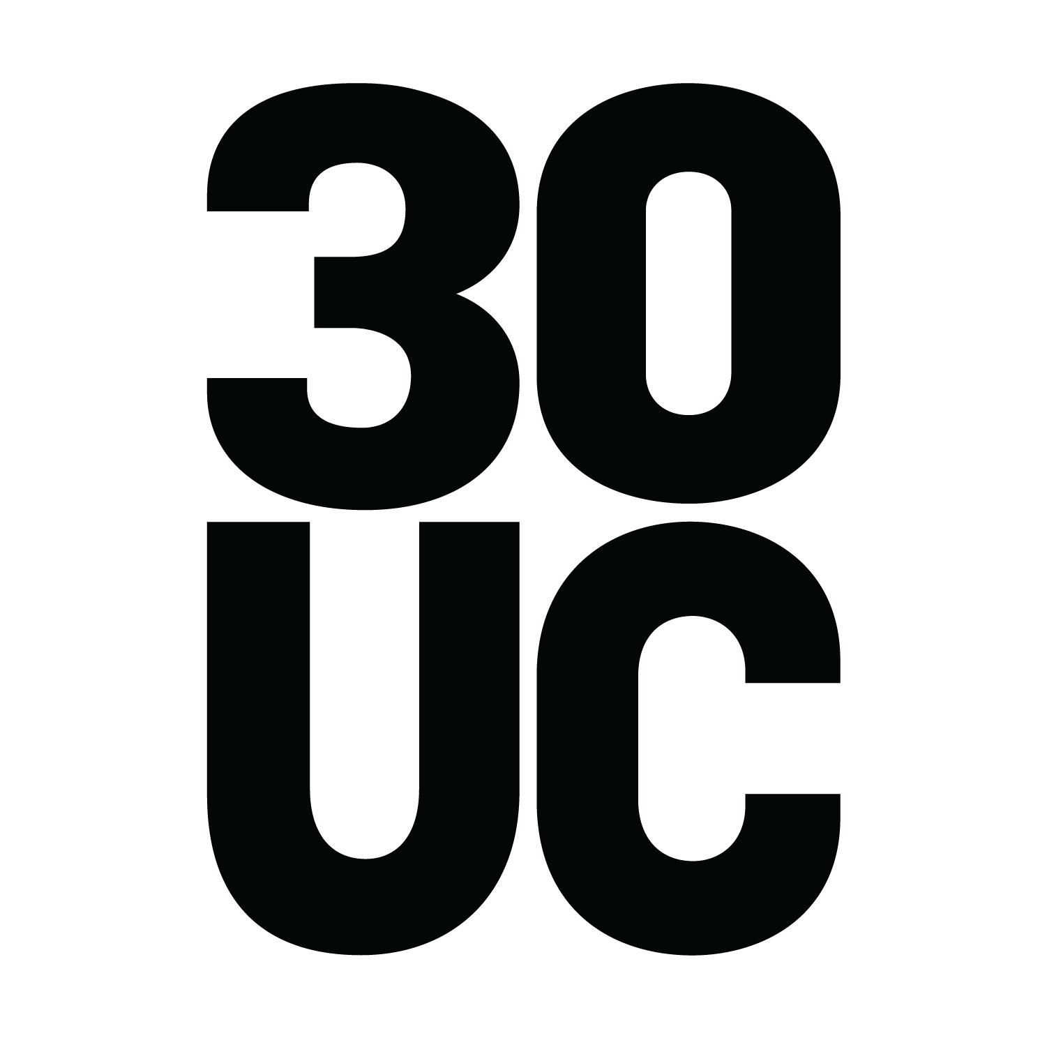 30UC logo black and white