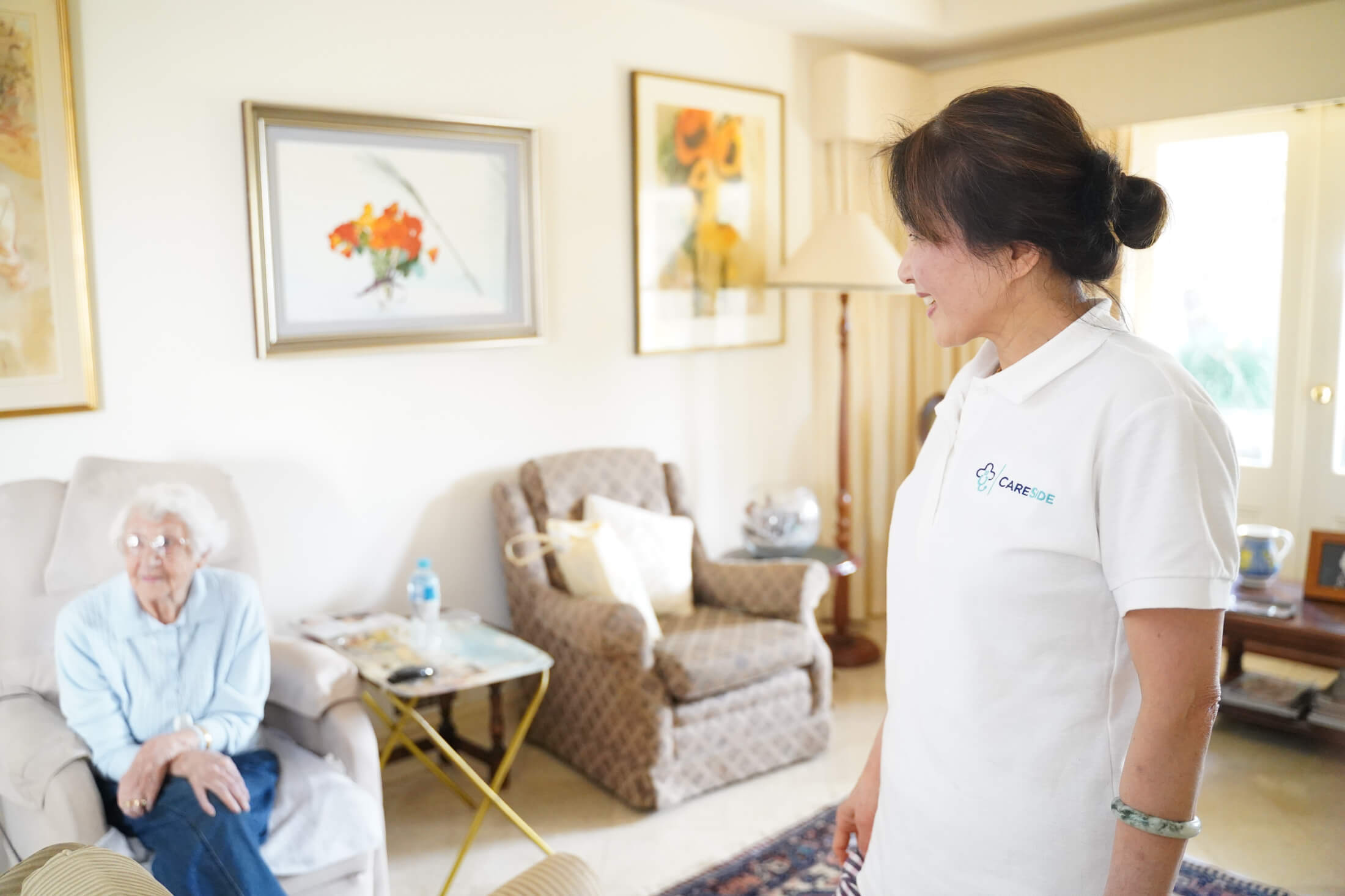 Highly trained live-in carer for elderly person