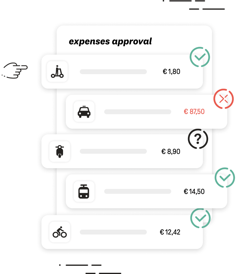 A list of mobility expenses that have been validated or not by the fleet manager.