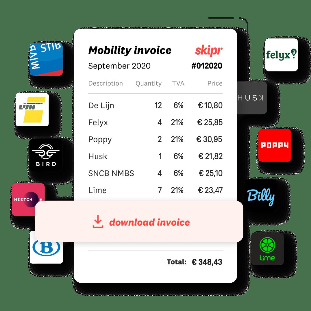 Factuur met afzonderlijke mobiliteitskosten van verschillende operatoren.