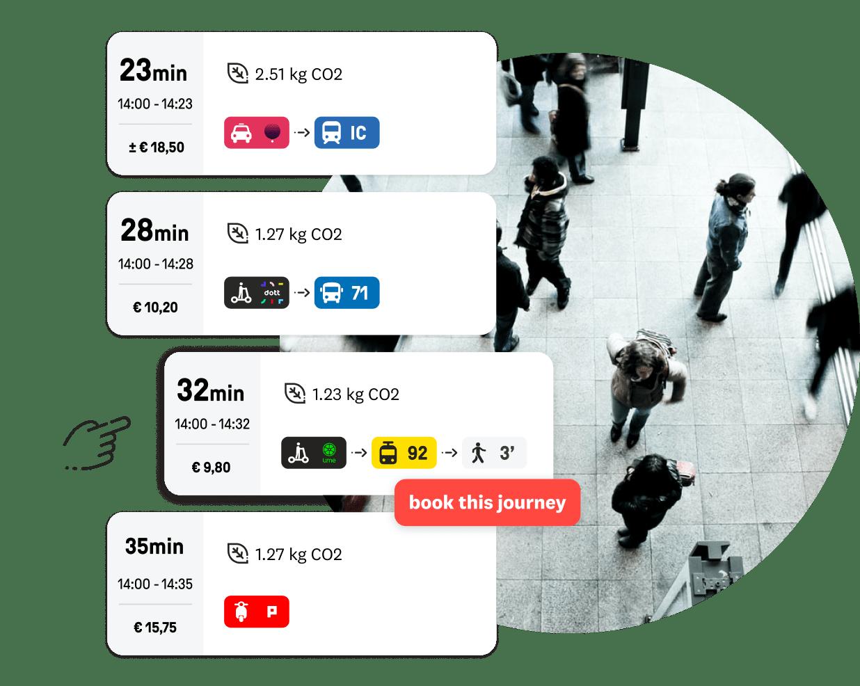 Een lijst met reisresultaten van de Skipr app. Met achtergrond.