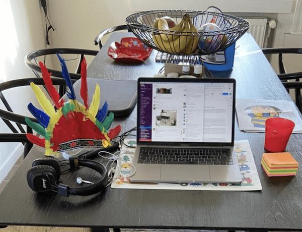 A skipr desk during homework