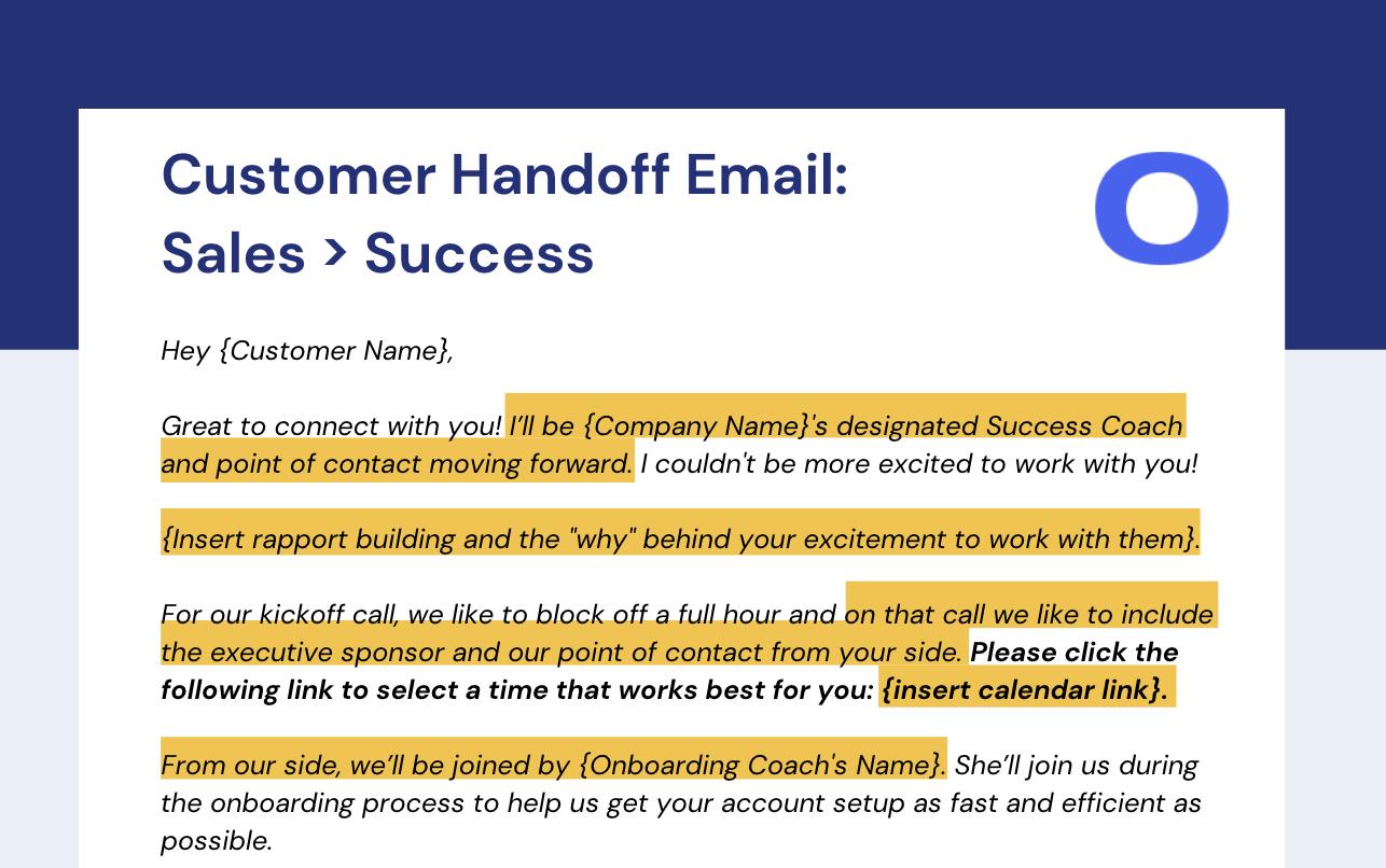 Customer Handoff: Customer Success Email Response