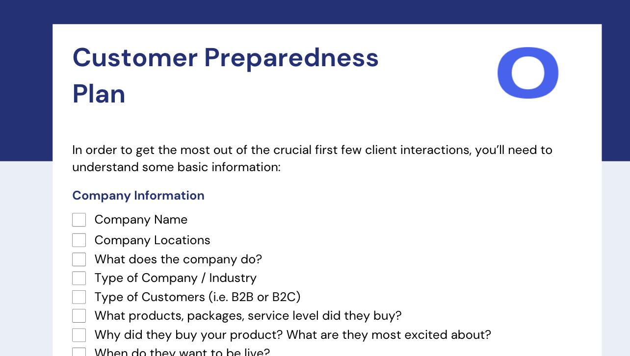 Customer Onboarding Preparedness Plan