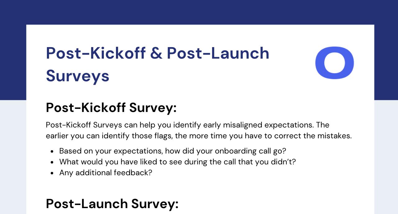 Customer Surveys: Post-Kickoff & Post-Launch