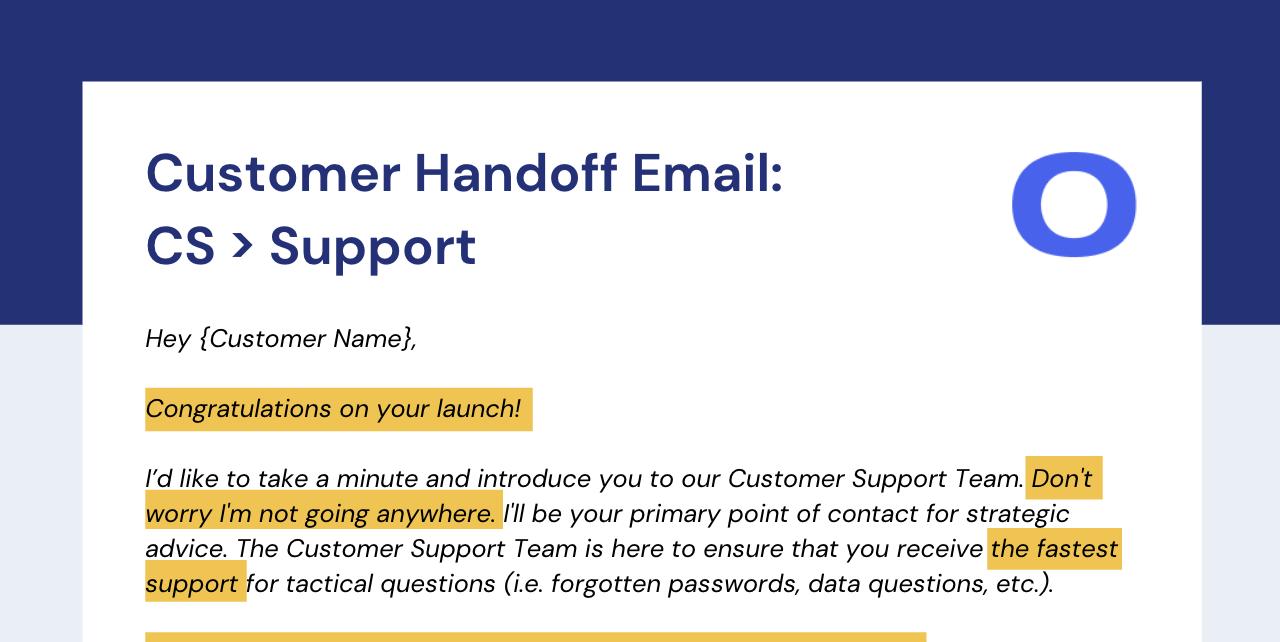 Customer Handoff: Customer Success to Customer Support