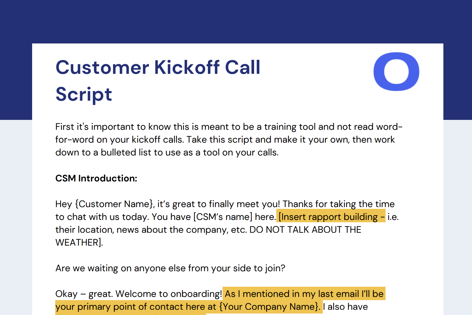 Customer Onboarding Kickoff Call Script