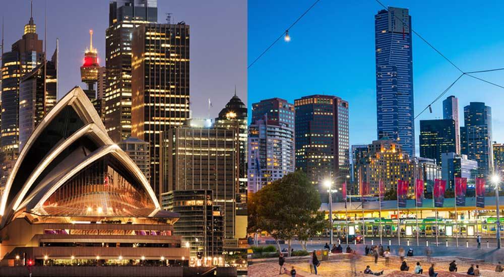 Sydney skyline on the left, Melbourne skyline on the right.