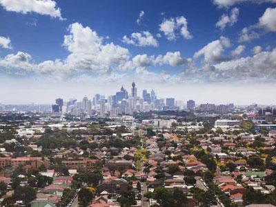 Sydney suburbs aerial photo.