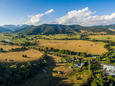 Aerial photo of farmland in rural Australia