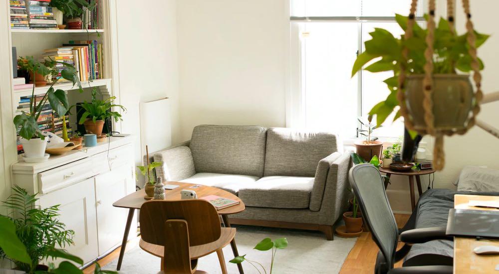Sunlit living room, perfect rental property