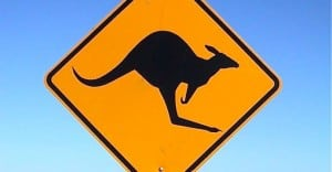 Kangaroo crossing sign in Australia