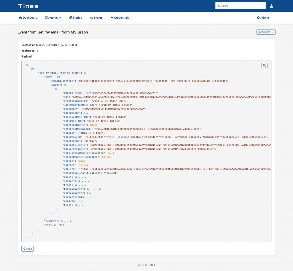Tines - Event generated by Microsoft Graph Security Automation