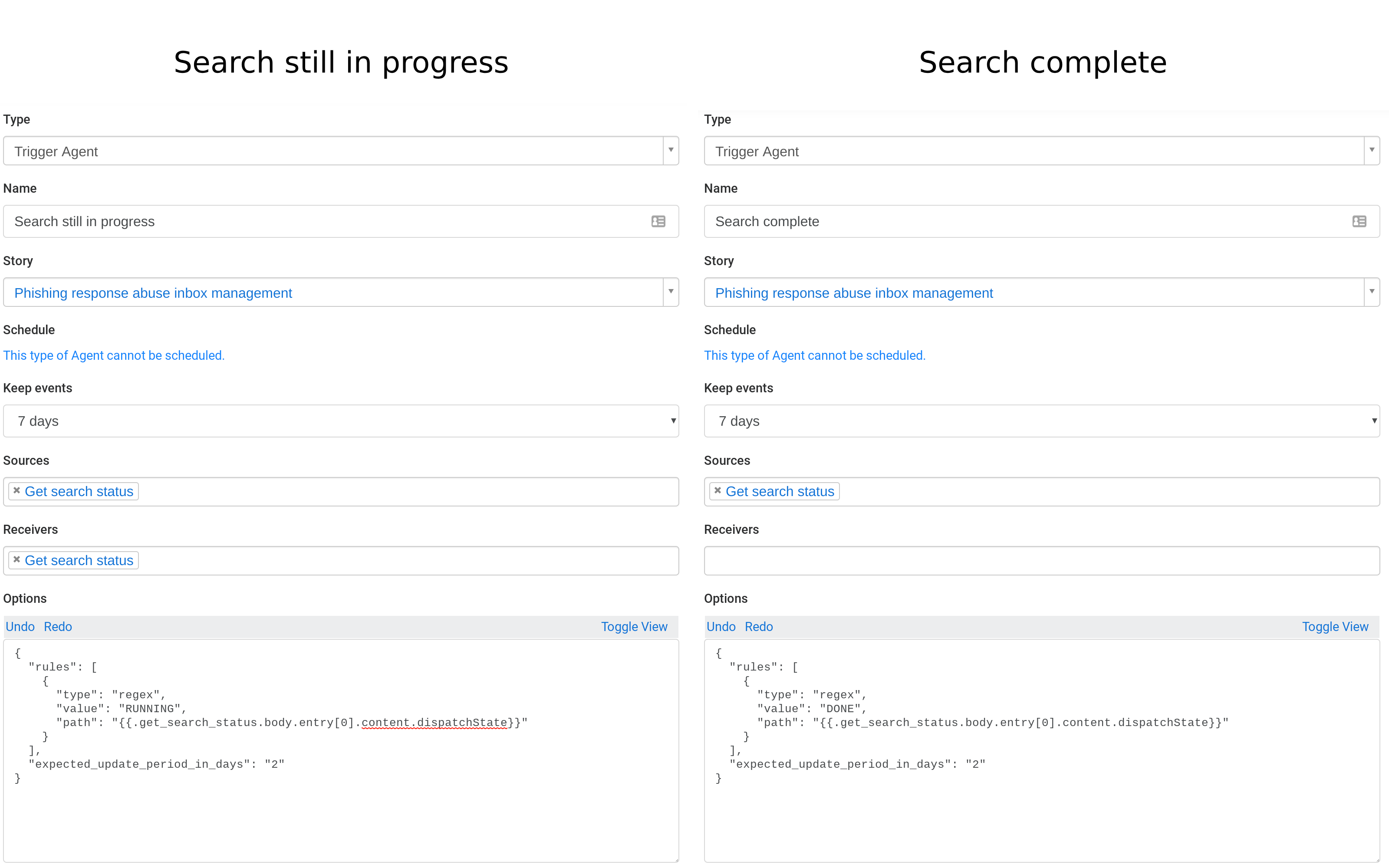 Configuration for search status trigger agents