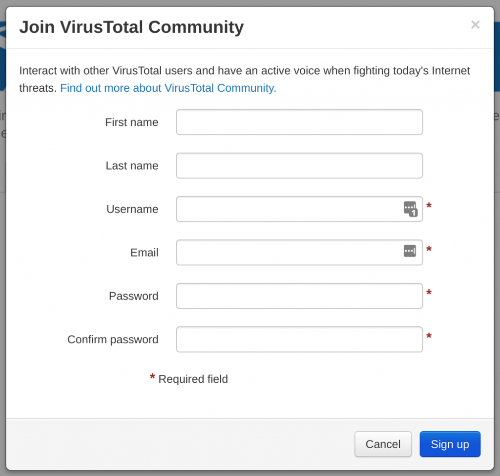 Virustotal api sign up
