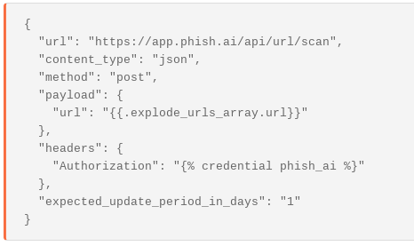 A HTTP Request Agent configuration to submit urls to phish.ai